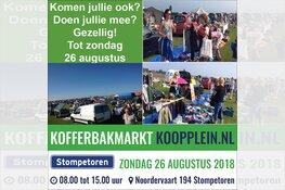 Zondag 26 augustus Koopplein Kofferbakmarkt in Stompetoren