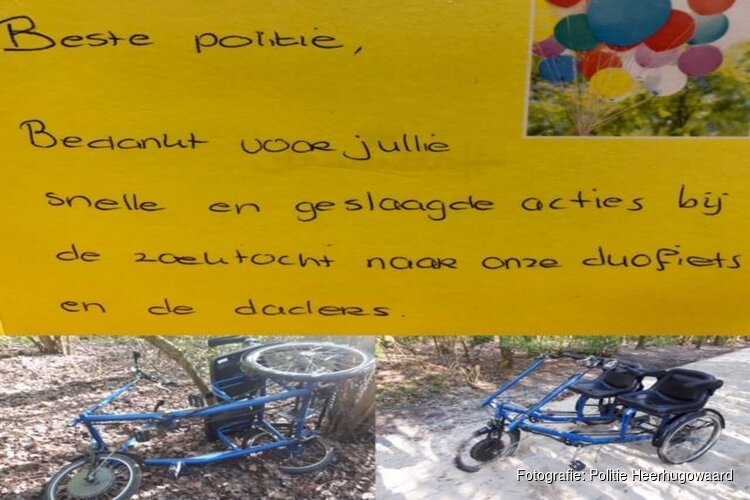Esdégé Reigersdaal bedankt politie na terugvinden duofiets