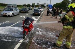 Motorfiets in brand in Heerhugowaard