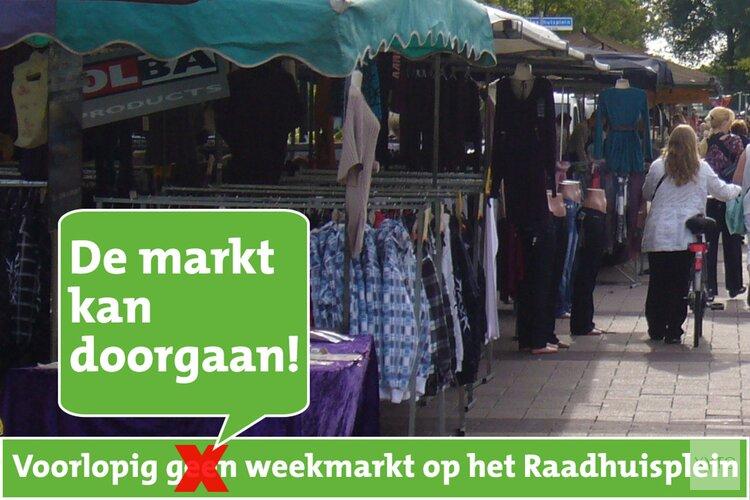 Weekmarkt Raadhuisplein gaat toch wel door