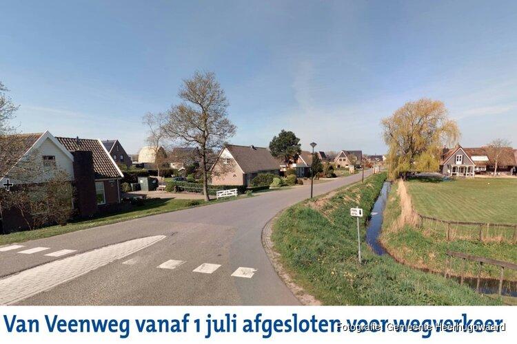 Van Veenweg vanaf 1 juli afgesloten voor wegverkeer