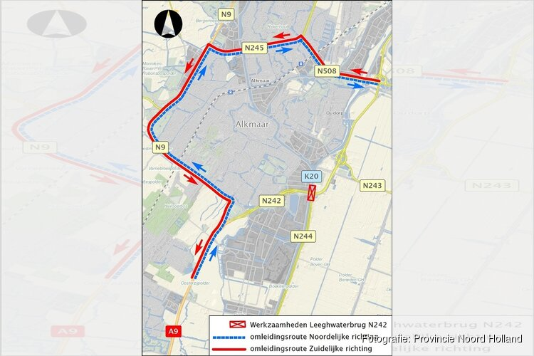 Nieuwe verkeerssituatie voor Leeghwaterbrug (N242) in Alkmaar